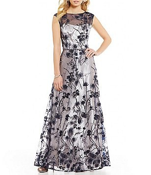 Emma Street Embroidered Floral Embroidered Sequin Mesh Ballgown