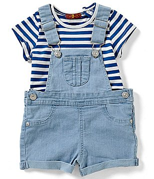 7 For All Mankind Baby Girls 12-24 Months Solid Shortall & Striped Tee Set