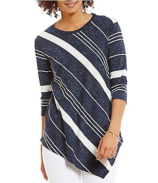 Two by Vince Camuto 3/4 Sleeve Asymmetric Variegated Stripe Top