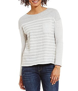 Two by Vince Camuto Long Sleeve Mixed Ink Stripe One-Pocket Tee