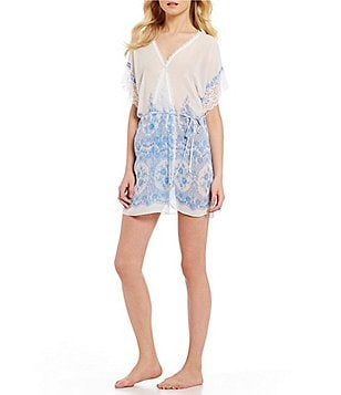 In Bloom by Jonquil Morning View Border-Print Chiffon & Lace Wrap Robe