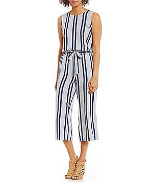 Two by Vince Camuto Striped Rows Belted Culotte Jumpsuit