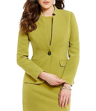 Kasper Petite Notch Collar Long Sleeve Solid Stretch Crepe Blazer
