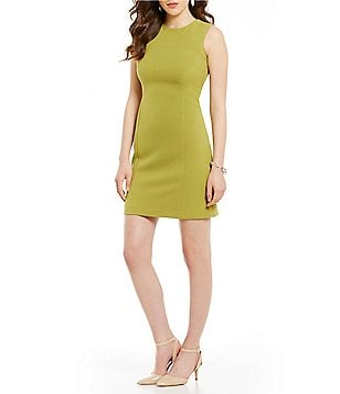 Kasper Petite Round Neck Sleeveless Stretch Crepe Sheath Dress