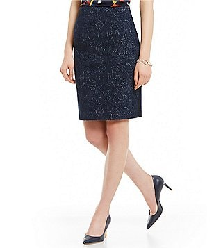 Kasper Petite Mid-Rise Textured Knit Jacquard Pencil Skirt