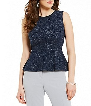 Kasper Petite Round Neck Sleeveless Textured Knit Jacquard Peplum Top