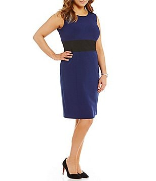 Kasper Plus Colorblock Sheath Dress