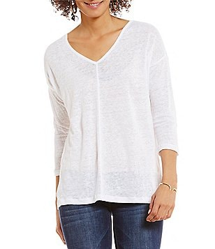 Two by Vince Camuto Front Seam Linen Tee