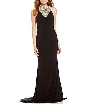 Lasting Moments Beaded Halter Neck Open-Back Matte Jersey Gown