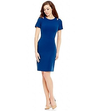 Antonio Melani Marie Crew Neck Short Sleeve Crepe Sheath Dress
