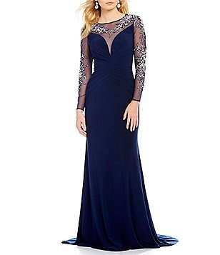 Lasting Moments Beaded Illusion Keyhole Back Gown