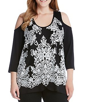 Karen Kane Plus Lace Overlay Cold-Shoulder Top
