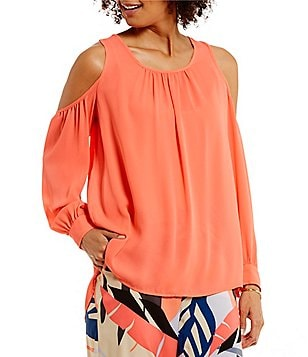 Vince Camuto Long Sleeve Cold-shoulder Peasant Blouse