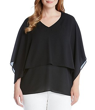 Karen Kane Plus Silky Crepe Double Layer V-Neck Top
