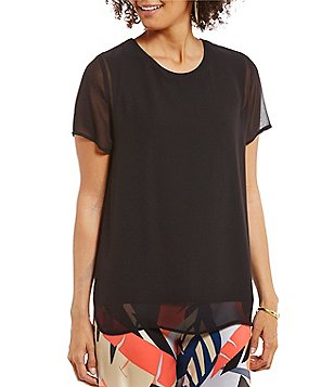 Vince Camuto Crew Neck Short Sleeve Chiffon Overlay Blouse