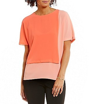 Vince Camuto Round Neck Extended Shoulder Colorblock Blouse