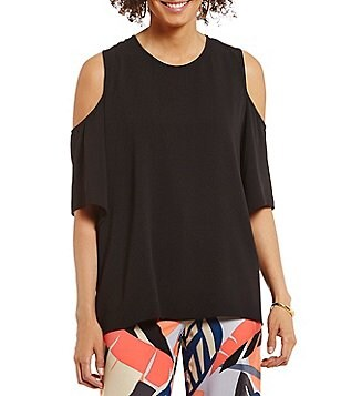 Vince Camuto Short Sleeve Cold-Shoulder Hi-Low Hem Blouse