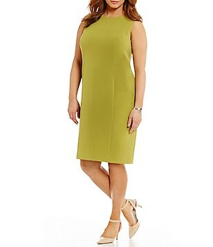 Kasper Plus Round Neck Sleeveless Solid Stretch Crepe Sheath Dress
