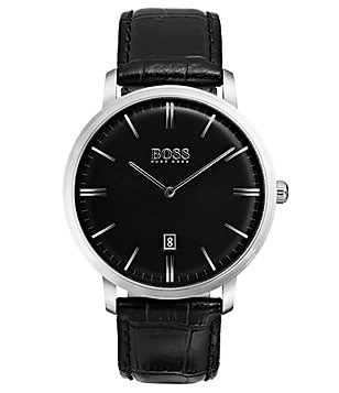 BOSS Hugo Boss Tradition Analog & Date Crocodile-Embossed Leather-Strap Watch