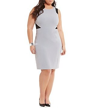 Kasper Plus Round Neck Sleeveless Colorblock Sheath Dress