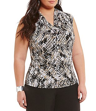 Kasper Plus Cap Sleeve Draped Printed Top