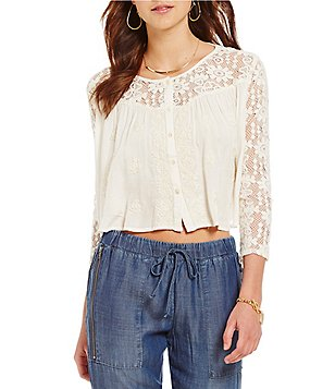 Chelsea & Violet Lace 3/4 Sleeve Embroidered Button Front Top