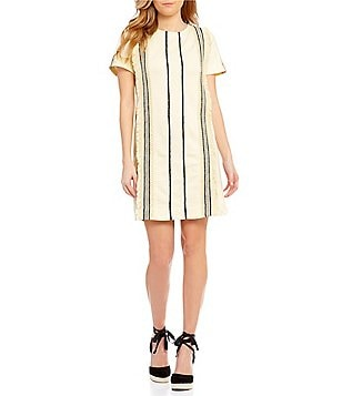 J.O.A. Striped Linen Short Sleeve Dress