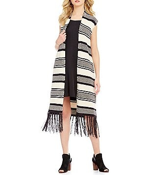 Moon River Fringed Striped Sleeveless Cardigan
