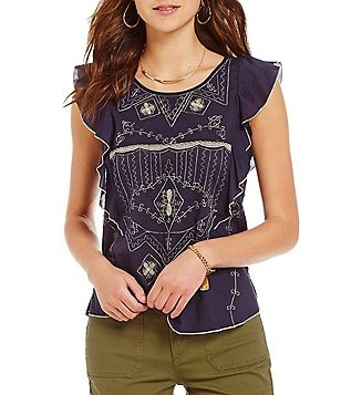 Chelsea & Violet Ruffle Embroidered Cap Sleeve Top