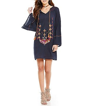 Chelsea & Violet Tie Neck Long Sleeve Embroidered Dress