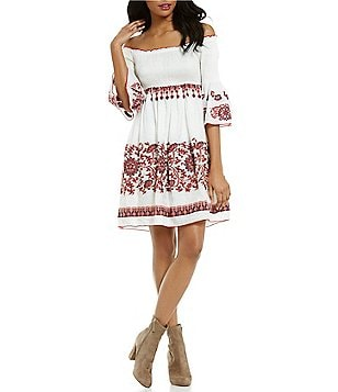 Chelsea & Violet Off-The-Shoulder Bell Sleeve Smocked Embroidered Dress