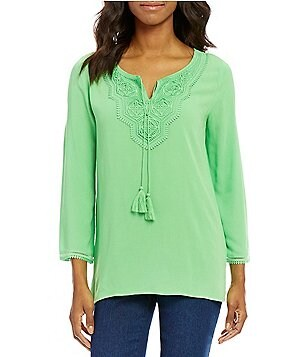Ruby Rd. Tassel Tie-Neck Front Lace Panel Tunic