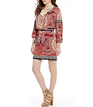 Chelsea & Violet Printed Knit Tie-Neck Long Sleeve Dress