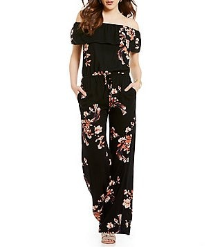 Chelsea & Violet Off-the-Shoulder Short Sleeve Printed Jumpsuit