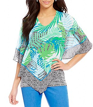 Ruby Rd. V-Neck Printed Butterfly Top