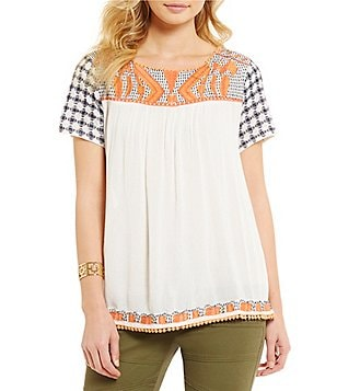 Chelsea & Violet Embroidered-Yoke Short Sleeve Top
