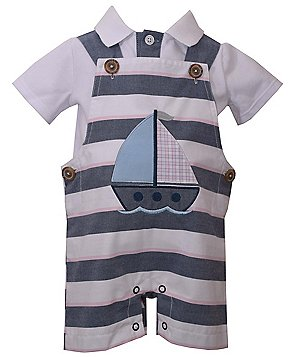 Matt´s Scooter Baby Boys Newborn-24 Months Striped Sailboat-Applique Coverall & Woven Shirt Set
