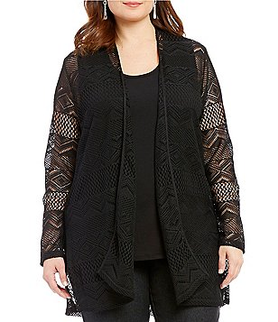 Ruby Rd. Plus Geo-Stripe Lace Open Front Cardigan