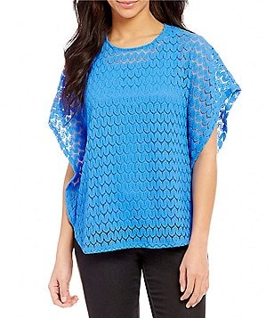 Ruby Rd. Butterfly Sleeve Geo-Wave Lace Float Top