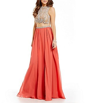 Glamour by Terani Couture High Neck Beaded Illusion Two-Piece Dress