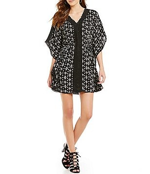 Angie Printed Lace Inset Caftan Dress