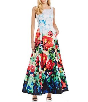 Nicole Miller New York Sleeveless Floral Mikado Gown