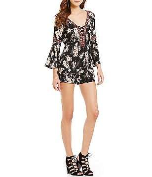 Angie Floral-Printed Lattice V-Neck Bell-Sleeve Romper