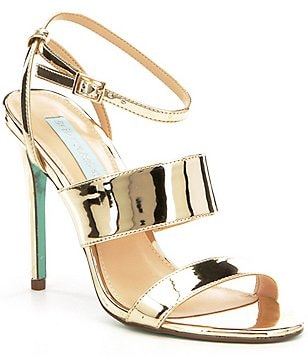 Blue by Betsey Johnson Jenna Metallic Banded Ankle Strap Dress Sandals