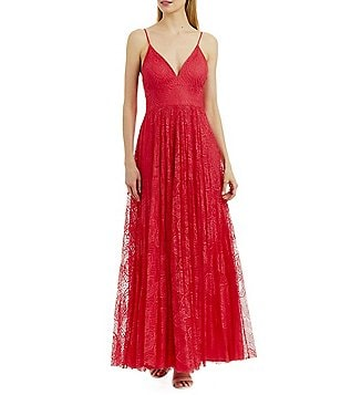 Nicole Miller New York Sweetheart Pleated Lace Gown