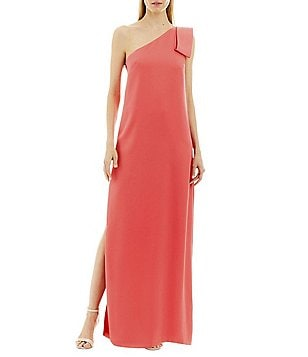 Nicole Miller New York Bow-Shoulder Crepe Gown