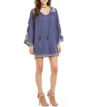 Angie Embroidered Bell-Sleeve Tie-Neck Shift Dress