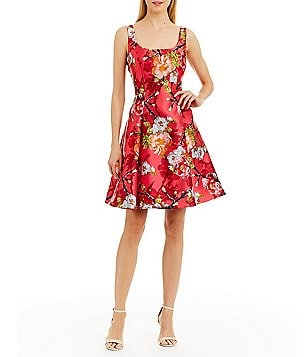 Nicole Miller New York Floral-Print Mikado Party Dress