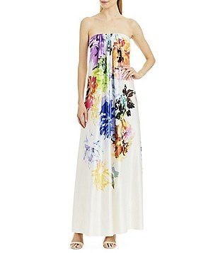 Nicole Miller New York Strapless Floral Gown