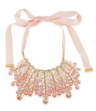 Carolee Garden Party Ribbon & Rose Quartz Statement Necklace